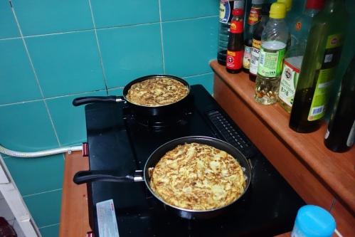 Omelettes cooking