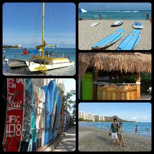 Waikiki Beach, ships, surf boards, tiki bar and Diamond Peak