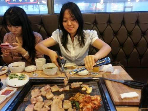 Me cooking samgyeopsal