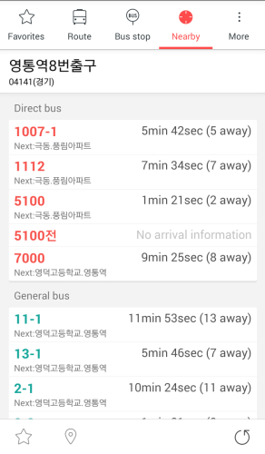 Nearby BusStop example