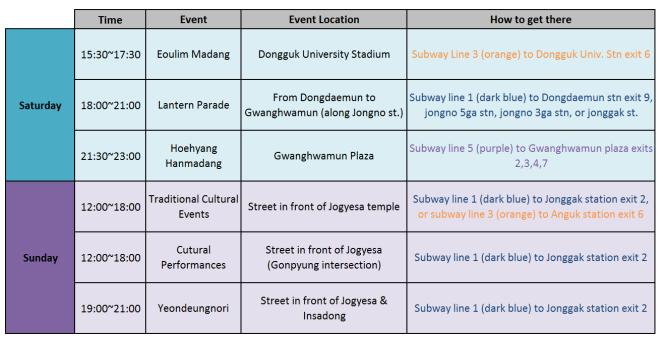 schedule fo lantern festival