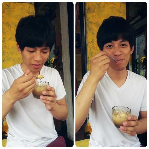 Vic enjoying a fresh eggyffogato