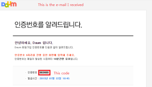 This is how the e-mail you will receive looks like. Copy and paste the code. If you can't find the e-mail, try looking in your spam or trash folder.
