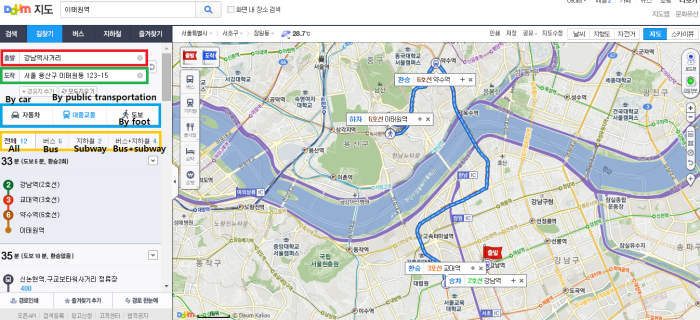 C. Daum search route from gangnam to itaewon
