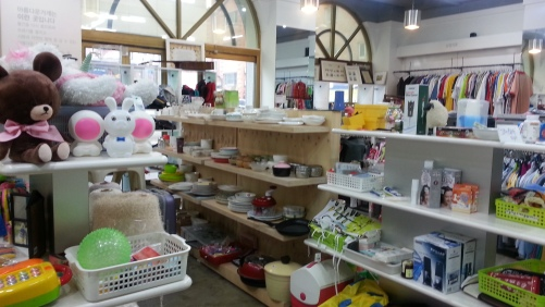 Inside kitchenware and toys