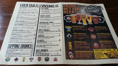 Menu normal drinks