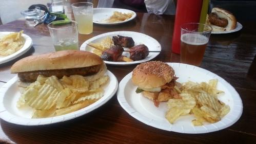 Sausage (not hot dog), pulled pork and hanger steaks