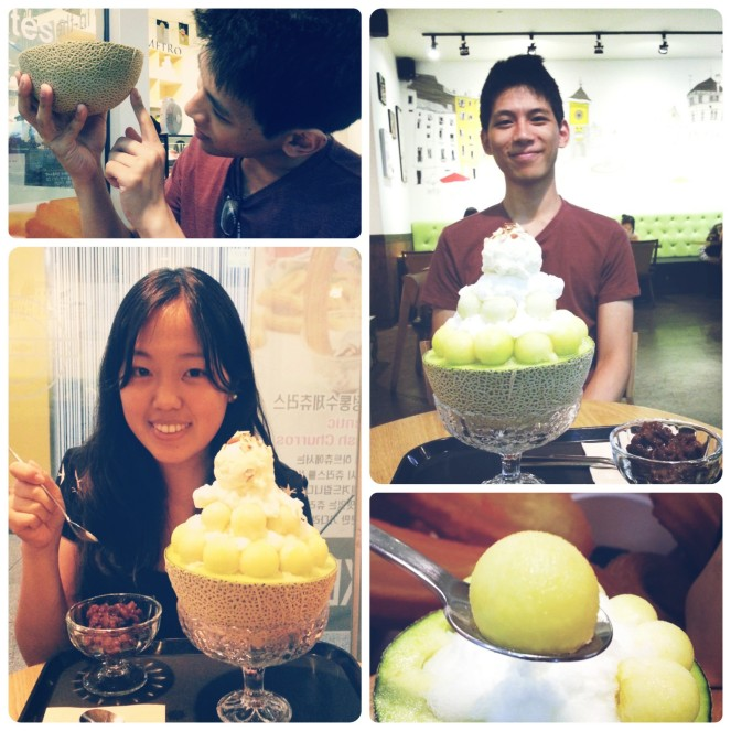 eating bingsu