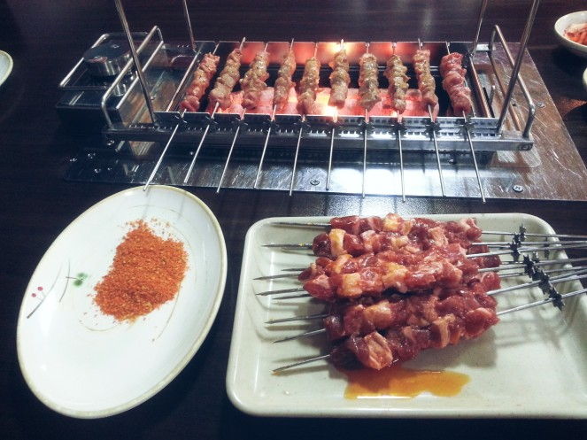 lamb skewers and spicee
