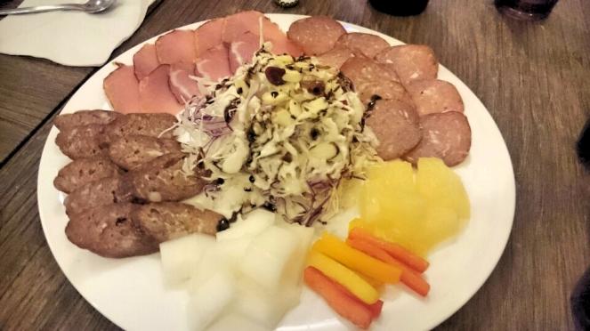 Sausages plate closeup