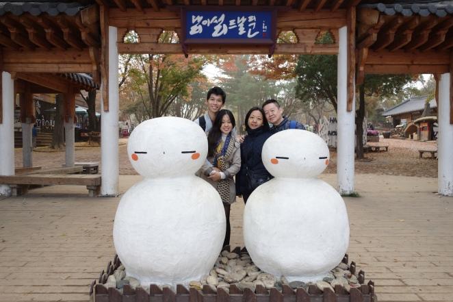 Nami Island snowmen and family