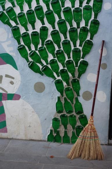 Nami recycled art_Soju bottles