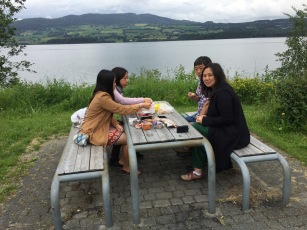 Having a picnic lunch by the huge Mjøsa lake